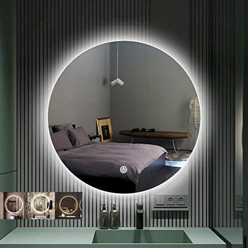QFF@ Promesa Oscurecimiento Espejo Del Baño De Pared Retroiluminación Espejo Redondo Luz LED Espejo...