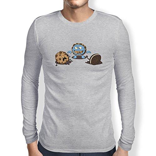 Texlab Monster Prank Cookie - Herren Langarm T-Shirt, Größe XL, Grau Meliert (Maske Tier Muppet)