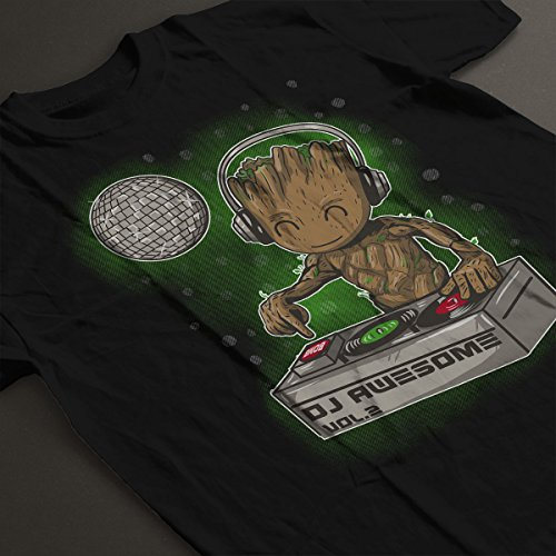 Guardians Of The Galaxy DJ Awesome Baby Groot Women's T-Shirt Black