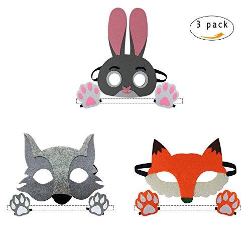 3 Verschiedene Kinder Cartoon Tier Masken Fuchs Wolf Kaninchen Filz Maske mit Pfote für Jungen Mädchen Rolle Spielen Cosplay Kostüme Geburtstagsgeschenke Party Favors (Maske Cartoon Die Wolf)