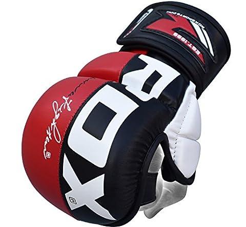 RDX - Cuir de Maya Hide - MMA Gants Entrainement Sparring UFC Art Martiaux - Sac De Frappe Combat Kickboxing - Rouge/Blanc - Taille: XL