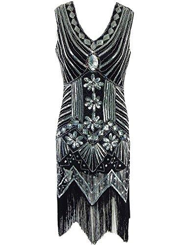 Whoinshop Damen 1920s Gatsby Retro Pailletten Troddel wulstiges gesäumtes Flapper Kleid Cocktailkleid Schwarz (Jahre Kleider 1920er Billig)