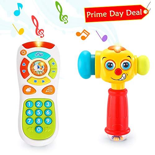VATOS Baby Fernbedienung Spielzeug & Baby Hammer Spielzeug für 12 bis 18 Monate bis Kinderspielzeug Beleuchtung & Sound Baby Hammer Spielzeug für 1 Jahr alt (nur Englische Aussprache) -