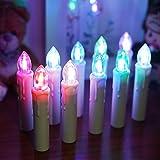 ShinePick 10er Set Led Kerzen, Weihnachtskerzen Lichterkette, Flackernde Flamme Fernbedienung Timerfunktion Einstellbare Helligkeit Batteriebetrieben Wasserdichte mit Kerzenhalter Clips (Bunt)