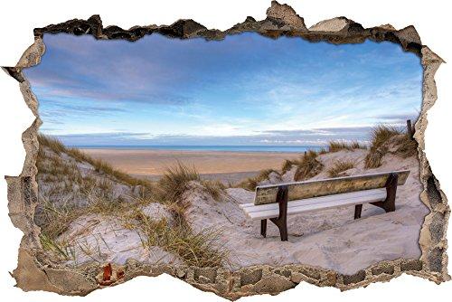 Bank in den Dünen mit Blick auf das Meer Wanddurchbruch im 3D-Look, Wand- oder Türaufkleber, Wandsticker, Wandtattoo, Wanddekoration