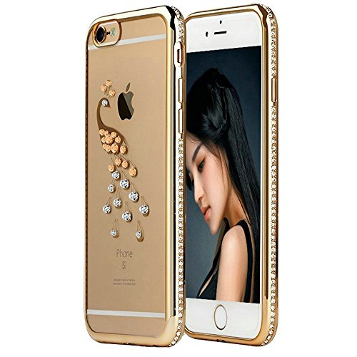 topways® electroplating Bling Diamant TPU Transparent Coque de protection ultra fine pour Apple iPhone 6/6S, plastique, Gold peacock, iPhone 6/6S Plus