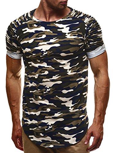 LEIF NELSON Herren T-Shirt Sweatshirt Hoodie Hoody Camouflage Army LN6370 Camouflage Blau-Toene