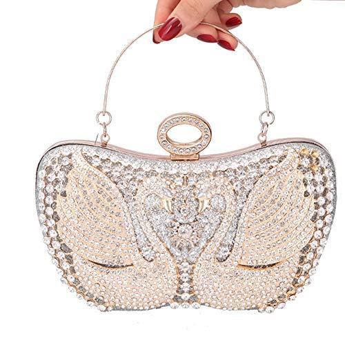 Großhandel Auge Kissen (Songlin@yuan Mosaik Kristall Strass Blume Hohl Schwan Bankett Clutch Bag Hochzeitskleid Abendtasche Kette Schulter-Schulter-Damen Handtasche Größe: 22 *   7 * 15cm (Farbe : Silver))