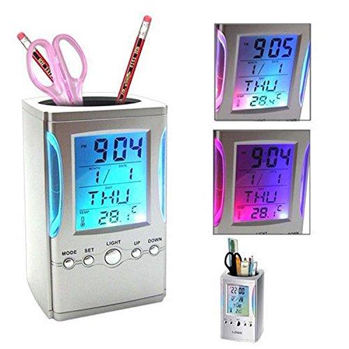Digital LCD Desk Alarm Clock Mesh Pen Holder Pens Office LED Light  available at amazon for Rs.350