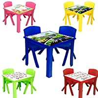 A406 Toddler Plastic Table and Chairs for Children Kids Plastic Nursery Set Outdoor indoor (Blue, Table + 2 Chairs)
