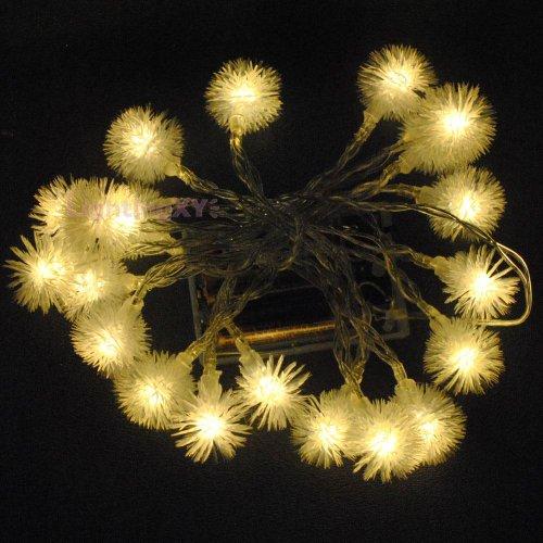 JnDee Warm weißen Blüten Ball batteriebetrieben LED Lichterkette 2m 20LED-On/Off/Flash Funktionen, perfekt für Weihnachten Hochzeit und Parteien -