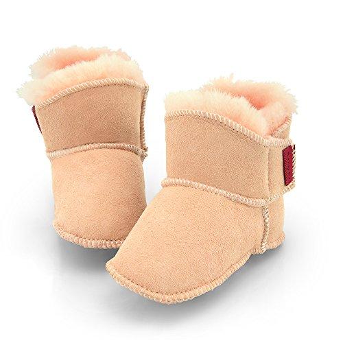 Engel Babyschuhe aus Lammfell mit Klettverschluss (1-Klett) pink rosa 18/19 - Engel Bootie