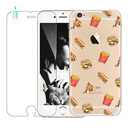 Cover iPhone 6 Plus/6s Plus [Pellicola Protettiva in Vetro Temperato], Bestsky Cute Cartone Animato Colorato Fiore Pattern Trasparente Gel Silicone Bumper Case Custodia Per iPhone 6 Plus/6s Plus, Saku #12