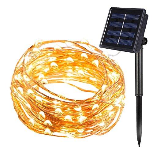 InnooLight 200er LED Solar Kupferdraht Lichterkette Warmweiß & Hellgelb 20 Meter, mit 1,5 Meter Zuleitung, Wasserdichte Solar Außen Sternen Lichterketten Beleuchtung mit 8 Modi und Memory-Funktion als Solar Lichterkette draussen