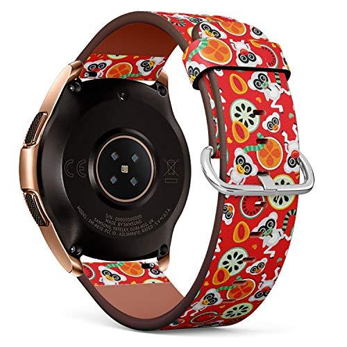 Art-Strap Kompatibel mit für Samsung Galaxy Watch (42MM) - Leder-Armband Uhrenarmband Ersatzarmbänder mit Schnellverschluss (Bunter Frucht-Retro- AFFE) - Womens Affe