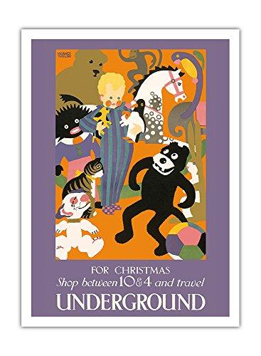 Pacifica Island Art - Weihnachtseinkäufe zwischen 10 & 4 - Fahren Sie mit der U-Bahn - Londoner U-Bahn (Tube) - Retro Eisenbahn Plakat von Horace Taylor c.1924 - Giclée Kunstdruck 30.5 x 41 cm