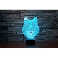 lampada 3D acrilico lupo luci colorate della lampada della luce di notte luci di visione creativa , blue