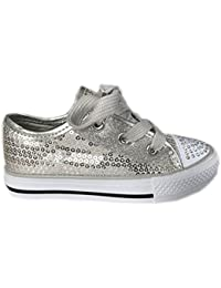 580f8f0f9533 MyShoeStore Girls Diamante Canvas Shoes Childrens Kids Toddlers Summer  Sequins Pumps Casual Infants Trainers Flat Low Top Lace Up…
