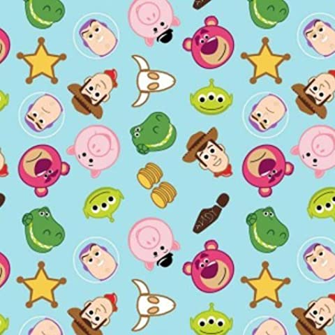Disney Pixar Toy Story Emojis Cartoon tela 38060- grasa quarter- por verde, Woody, Buzz, punta plana de cerdo,