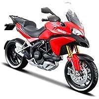 Maisto Ducati Multistrada 1200 MY 2010: Originalgetreues Motorradmodell, mit Federung, frei rollenden Rädern und extra Seitenständer, 17 cm, rot (531188)