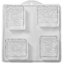 World Of Moulds Mundo de moldes 4-Cavity diseño de Flores en Cuadrados de jabón