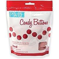 PME - Bottoni di Cioccolato per Cake Design - Rosso, 340 g