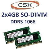 CSX RAM 2x4 GB PC3-8500 (1066 Mhz) DDR3 SO-DIMM pour MacBook (Pro)/ iMac/ Mac Mini