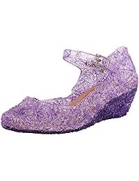 1cfe8500a31 Logobeing Zapatos Sandalias Niñas Cuña Cosplay Fiesta Soltera Princesa Sandalias  Perla Rhinestone Lentejuelas Zapatitos de Tacón