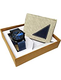XPRA Analog Watch & Beige Leather Wallet for Men/Boys Combo (Pack of 2) - (WCH-WL-11)