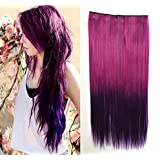 Fuchsia To Purple Two Colors Ombre Hair Extension