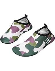 Fortuning's JDS Niños Multifuncional Descalzo Deportes Acuáticos Zapatos Zapatillas de Natación Buceo Camouflage Calcetines Bucear Botas Ponerse Suave Playa Zapatos