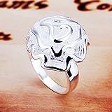 Skyllc® 925 anillo de flor plateada plata 3D Rose para las mujeres