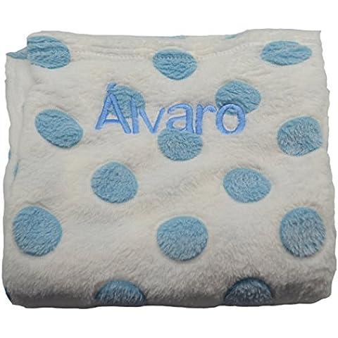 Manta bebé personalizada con nombre bordado. Color Azul