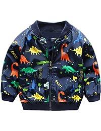 8ad345d49 HARVEY JIA - Chaqueta Corto Niño Niña Otoño Primavera con Estampado  Dinosaurio Transpirable Suave Abrigo Niña