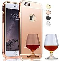 Semoss Ultra Slim Thin Bling Strass Custodia Specchio in Alluminio per Apple iPhone 7 Mirror Hardcase Protettivo Metallo Bumper Cover Rigida - Rose