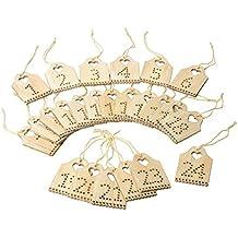VBS Zahlen Adventskalender 1-24 Schilder aus Holz mit Bändchen ca. 5x3,5cm Schild Türchen Advent Weihnachten Weihnachtskalender Geschenke