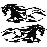 Isee360 Horse Flame Mirror - Animal Decal Vinyl Car Stiker (Pack Of 2) (Medium,Black)