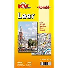 Leer: 1:15.000 Stadtplan mit Freizeitkarte 1:25.000 inkl. Radrouten, Wanderwegen, Cityplan 1:7.500 (KVplan Ostfriesland-Region / http://www.kv-plan.de/Ostfriesland.html)