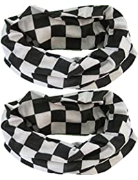 (2 PACK) Multifunctional Headwear... Black & White Check