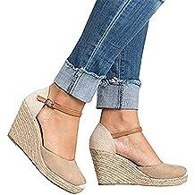Sandalias Mujer Cuña, Verano Plataforma Punta Cerradas Bohemias Zapatos De Tacón Alto Alpargatas De Playa