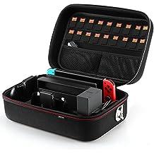 AGPTEK Funda portátil Deluxe para Nintendo Switch, Estuche de Transporte EVA Duro con Gran Capacidad para Mandos, Cables y Otros Accesorios