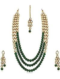 c5db20b60487 Aheli Elegante Bollywood Party Collar y Pendientes de Boda con Maang Tikka Set  Indio Tradicional étnico joyería…