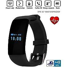 csmarte Original Stock Bluetooth SmartWatch Reloj Inteligente D21pulsera pulsera banda corazón tasa SmartBand actividad Tracker Fitness para iOS Android, color negro