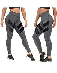 VENMO Patchwork Malla Push Up Pantalones de Yoga Mujer Talle Alto Polainas Flaco (Gris, S)