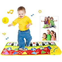 PAWACA Touch PLAY teclado, música cantando gimnasio alfombra mat para de teclado de Piano para bebé Floor Mat Alfombra–Manta de juegos para niños bebé