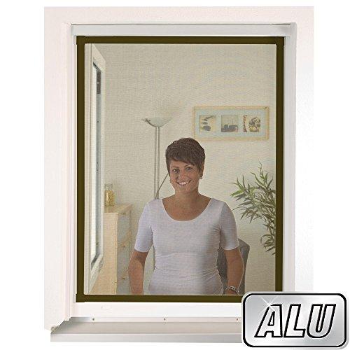 Preisvergleich Produktbild mako Insektenschutz Fenster slimLINE 80 x 100 cm ALU-Rahmen in Braun Fliegengitter-Fenster mit Schnellmontagefedern Insektenfenster kürzbar ohne Bohren