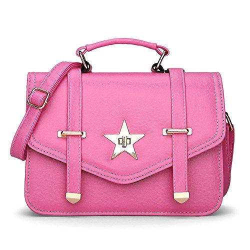 HQYSS Damen-handtaschen Leichte PU-lederne Schulter-Kurier-Handtasche Normallack-Frauen-Crossbody justierbare Einkaufstasche rose red
