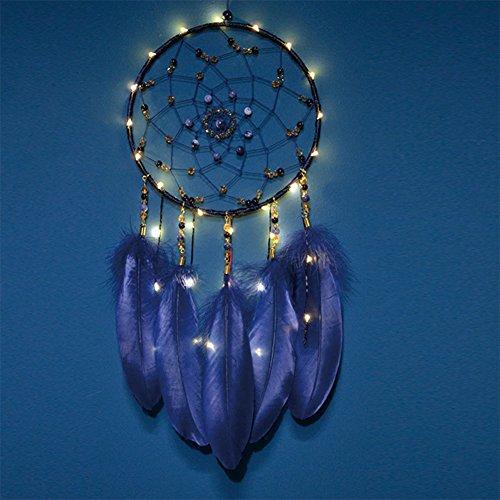 Nachtlicht, Handgemachte Dream Catcher Batterie Wind Chime Net Circular LED Lampe mit Federn und Blauen Stein Für Hängende Auto Wand Dekoration (Blau) - Große Geschenkidee (Sandstein-wand-beleuchtung)