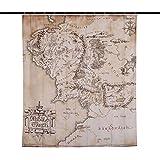Señor de los Anillos, Cortina de Ducha, Mapa de la Tierra Media, Pancarta de Pared, 180x200 cm Elbe Bosque Beige