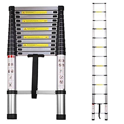 Ancheer Teleskopleiter Multifunktionsleiter Mehrzweckleiter Anlegeleiter Alu Leiter 3,20 M 150 kg belastbar